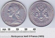 MADAGASKAR 5 FRANCS COIN # 2141