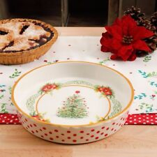"The Pioneer Woman 2017 Christmas Garland Holiday 9"" Stoneware Deep Dish Pie Pan"