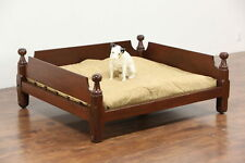 Dog Bed made from 1840 Antique Rope Bed, Cannon Ball Posts