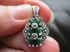 Fob Charm Pendant Art Nouveau Deco Vintage 925 Sterling Silver Jade Marcasite