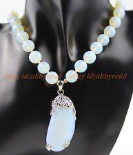 30#  10mm Fashion Opalite Round Gemstone Moonstone Beads Pendant & Necklace 18''