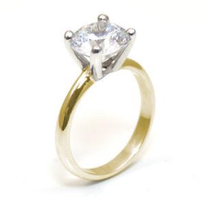 9ct Gold Ring Diamond Unique 3 carat Solitaire Engagement Ring