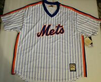NWT New York Mets Cooperstown Collection White Pinstripe Majestic Jersey Men 3XL