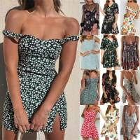 Summer Womens Boho Floral Casual Swing Sundress Holiday Party Mini Wrap Dress #t