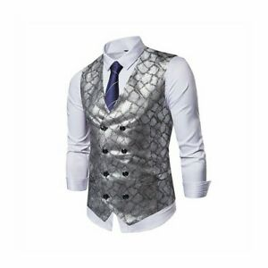 Men Check Suit Vest Waistcoat Snakeskin Pattern Double-breasted Top Retro