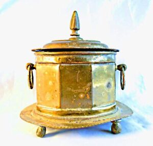 HAUNTED Antique Brass Trinket Box ~ OVAL Shaped Jewelry Footed Box