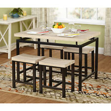 Dining Table With 4 Stools Ottoman Chairs Kitchen Furniture Space Saver Set New