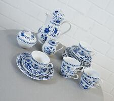 edles Kahla Kaffee Service 23 tlg. für 6 Personen Zwiebelmuster Blau Vintage RAR