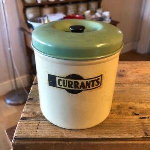 Vintage Garrison Cream & Green Kitchen Storage Tin / Canister – Currants – Great