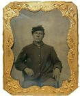 MID-19TH C ANTIQUE US CIVIL WAR UNION SOLDIER TINTYPE PHOTO W/GOLD FRAME NO CASE for sale