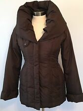 COFFEESHOP Womens Size S Brown Down Coat, Jacket, Large Pillow Collar