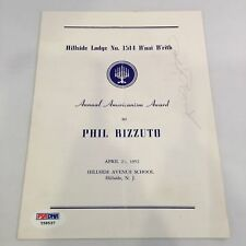 1952 Phil Rizzuto Signed Autographed B'nai Brith Awards Program PSA DNA