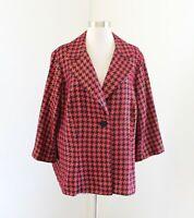 Lane Bryant Red Black Gold Metallic Houndstooth Blazer Jacket 3/4 Sleeve Size 20
