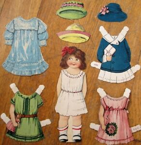 Paper Doll: 1890 Color Litho Stand-Up Girl w/Seven Pieces of Clothing