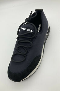 Diesel Mens Lace Up Suede Textile Trainers Blue Black Size UK 8 EU 42 RRP£140