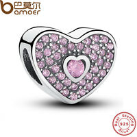 New Authentic S925 Sterling Silver Sweetheart, Fancy Pink CZ Charm For Bracelets