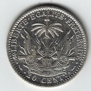 HAITI 20 centimes 1894 KM45 Ag.835 - 5g Paris Mint MUCH ABOVE AVERAGE - SCARCE!