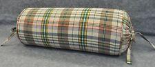 Self Corded Bolster Neckroll Pillow made w Ralph Lauren Boat House Madras Plaid