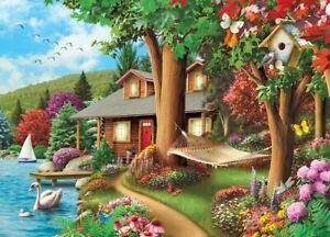 Jigsaw Puzzle Landscape Around the Lake Cabin Vacation Retreat 1000 pieces NEW