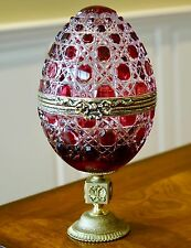 """FABERGE RUSSIAN COURT COVERED CANDY DISH EGG 8""""H GENUINE CASED CRYSTAL"""