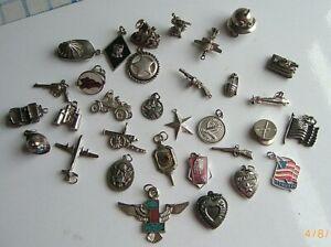 Vintage Sterling Charm Bracelet w13 Charms \u2013 Piano Clover /& more Lipstick Turtle