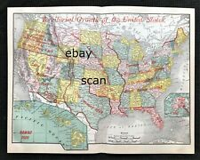 Authentic 1900 Large Detailed Color Map ~ TERRITORIAL GROWTH of U.S. Very Scarce