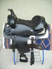 "15"" New Black All Leather Western Pleasure Show Trail Saddle ONLY Must See"