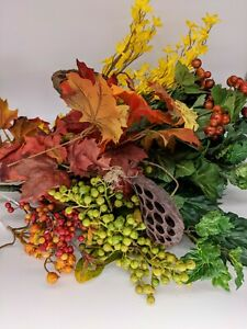 Large Lot of 21 Artificial Leaves Berries Greenery Picks in Fall Autumn Colors