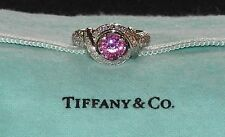 TIFFANY & CO. SCHLUMBERGER DIAMOND RING PLATINUM PINK SAPPHIRE RETAIL $23K + TAX