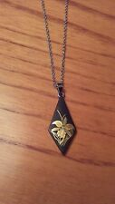 "Japanese Damascene pendant necklace, vintage, made in Kyoto, 16"" chain, floral"