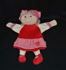 Peluche doudou marionnette poupée beige STERNTALER rouge foulard pomme NEUF