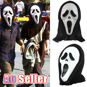 Scream Mask Scary Halloween Horror Movie Cosplay Costume Evil Black Party Dress
