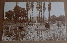 Postcard Edwardian Army Officers At a pontoon Bridge Early Photo