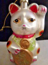 "Japanese welcome cat Maneki Neko blown glass Christmas ornament 4.5 """