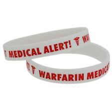 X1 Warfarin Anticoagulant Medical Alert Silicone Wristband Bracelets UK SELLER