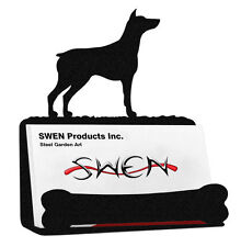 Swen Products Doberman Pinscher Dog Black Metal Business Card Holder