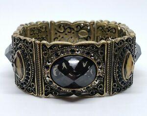 Kirk's Folly Art Nouveau Revival Smokey Crystal Gem Rhinestone Stretch Bracelet