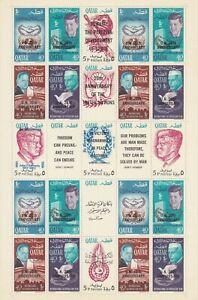 Qatar 1966 20 Ann UN / JFK Perf Full Sheet, F-VF MNH