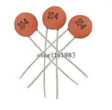 100Pcs100nF 0.1uF 104pF  50V Ceramic Disc Capacitors DIP top