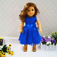 New Handmade Clothes Dress for 18 inch  Girl Dolls Party Blue Ros pols