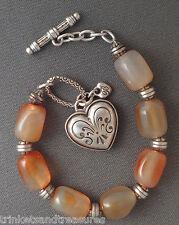 "8"" Brighton Bracelet Pompeii Heart Charm Polished Amber Color Stone Beads"