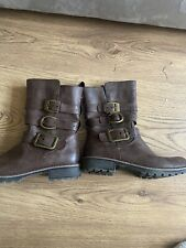 LADIES WOMENS LEATHER WORKER Zip Up CHUNKY HEEL ANKLE BOOTS Brown 6