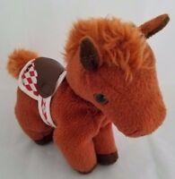 "Breyer Plush 006064 Brown Pony Horse with red/white diamond No. 9 Beanie 6"" 2004"