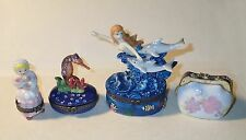 4 PHB Porcelain Hinged Boxes PURSE, Mermaid w/ Dolphins, Seahorse, Little BoPeep