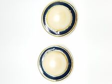 Vintage Clip On Earrings Ivory Color and Navy Blue Enamel Faux Pearls