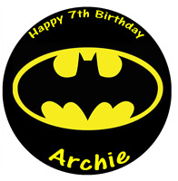 Batman Logo Personalised Cake Topper Edible Wafer Paper 7.5""