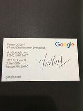 Autographed Vint Cerf business card Inventor Of Internet Signed