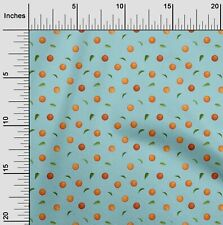 oneOone Polyester Micro Mesh Fabric Leaves & Orange Printed Fabric-JIi