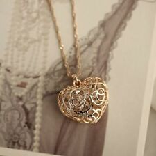 New 18K Gold GF Filigree Crystal Heart Locket Charm Pendant Necklace Chain Gift