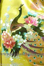 Animal Print Peacock Yellow Faux Silk Satin Fabric 48